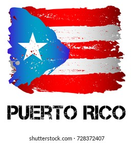Flag of Puerto Rico from brush strokes in grunge style isolated on white background. Latin America. Unincorporated territory of USA in Caribbean Sea. Vector illustration