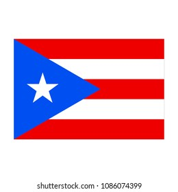 Flag of Puerto Rico. Correct proportions, elements, colors. Abstract concept, icon. Vector illustration on white background.
