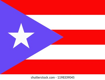 Flag of Puerto Rico or Puerto Rico of Country Flag design with illustration