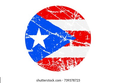 Flag of Puerto Rico Grunge Style. Hand Painted with Brush. Vector Illustration.