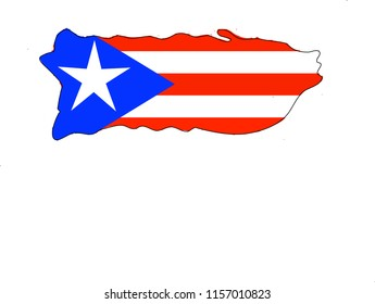 Flag of Puerto Rico in map.