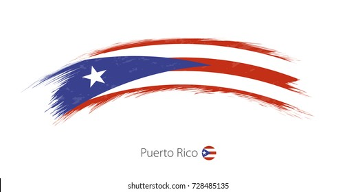 Flag of Puerto Rico in rounded grunge brush stroke. Vector illustration.