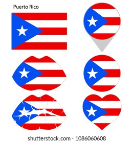 Flag of Puerto Rico, set. Correct proportions, lips, imprint of kiss, map pointer, heart, icon. Abstract concept. Vector illustration on white background.