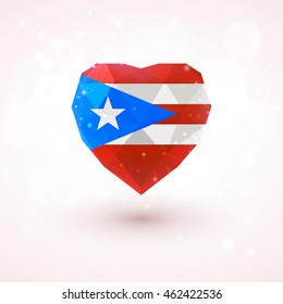 Flag of Puerto Rico in shape of diamond glass heart in triangulation style for info graphics, greeting card, celebration of Independence Day, printed materials