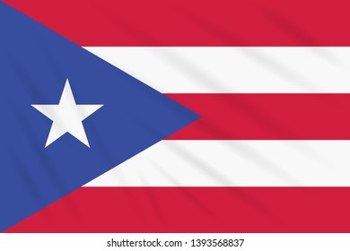 Flag Puerto Rico swaying in wind, realistic vector