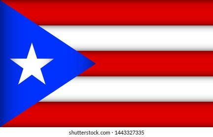 Flag of Puerto Rico. Vector illustration. Patriotic background.