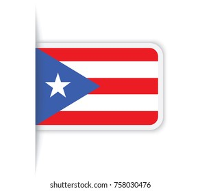 Flag of Puerto Rico. Vector illustration of a stylized flag. The slit in the paper with shadows. isolated on white.