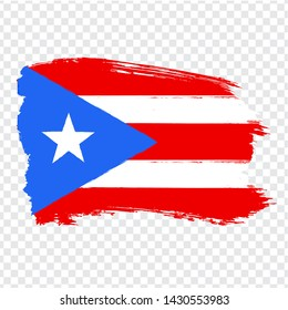 Flag of Puerto-Rico  from brush strokes. Flag Puerto-Rico on transparent background for your web site design, logo, app, UI. Stock vector. EPS10.