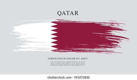 Flag of Qatar, brush stroke background
