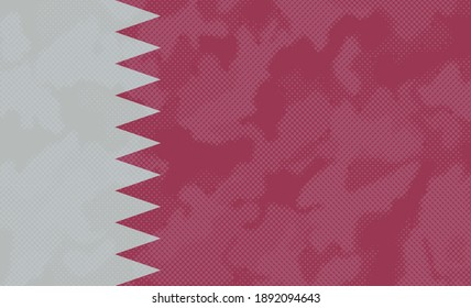 Flag of Qatar with halftone effect.