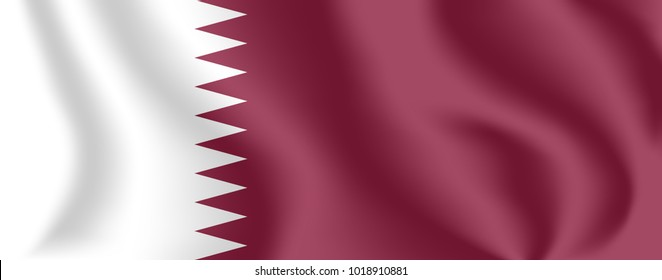 Flag of Qatar. Realistic waving flag of State of Qatar. Fabric textured flowing flag of Qatar.