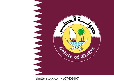 Flag of Qatar is a sovereign country located in Southwest Asia, occupying the small Qatar Peninsula on the northeastern coast of the Arabian Peninsula. Vector illustration