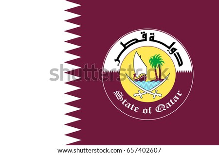 Flag Qatar Sovereign Country Located Southwest Stock Vector Royalty