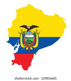 Flag of the Republic of Ecuador overlaid on detailed outline map isolated on white background