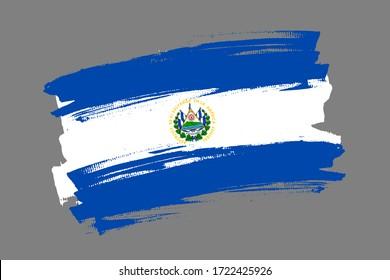 Flag of the Republic of El Salvador. El Salvador rticolor brush concept. Horizontal vector Illustration isolated on gray background.