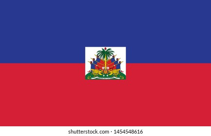 Flag of Republic of Haiti and formerly called Hayti is a country located on the island of Hispaniola, east of Cuba in the Greater Antilles archipelago of the Caribbean Sea. Vector illustration