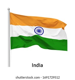 Flag of the Republic of India in the wind on flagpole, vector