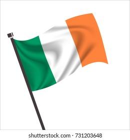 Flag of Republic of Ireland. Republic of Ireland Icon vector illustration,National flag for country of Republic of Ireland isolated, banner vector illustration. Vector illustration eps10.