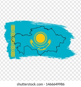 Flag  Republic of Kazakhstan from brush strokes and Blank map Kazakhstan.  High quality map Kazakhstan and flag on transparent background. Stock vector.  EPS10.