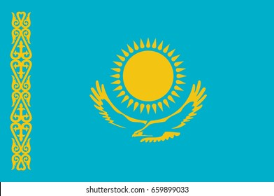 Flag of Republic of Kazakhstan is a transcontinental country in northern Central Asia and Eastern Europe. Vector illustration
