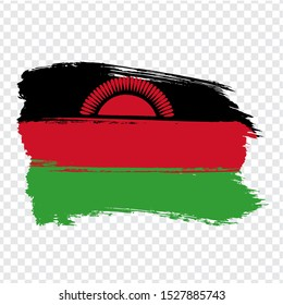 Flag Republic of Malawi from brush strokes. Flag Malawi on transparent background for your web site design, logo, app, UI.  Africa. Stock vector.  EPS10.