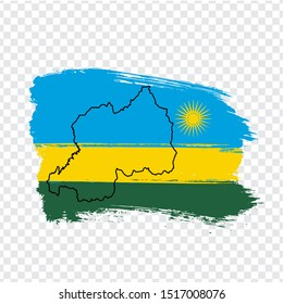 Flag Republic of Rwanda from brush strokes and Blank map Rwanda. High quality map Rwanda and flag on transparent background.  Africa. Stock vector. Vector illustration EPS10.