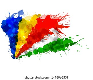 Flag of Republic of Seychelles made of colorful splashes