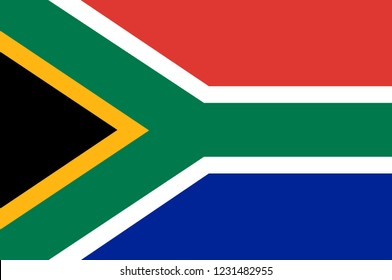 Flag of Republic of South Africa (RSA) is the southernmost country in Africa. Vector illustration