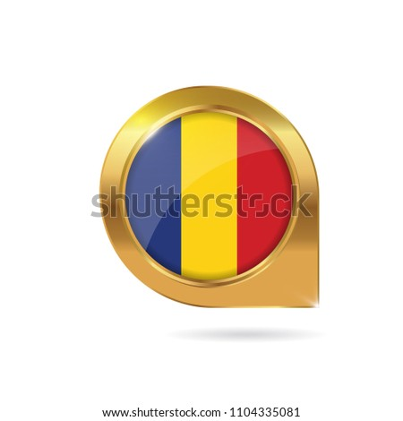 Flag Romania Location Map Pin Pointer Stock Vector (Royalty Free ...