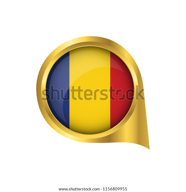 Flag Romania Location Map Pin Pointer Stock Image   Download Now