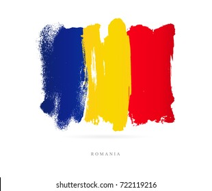 Flag of Romania. Vector illustration on white background. Beautiful brush strokes. Abstract concept. Elements for design.