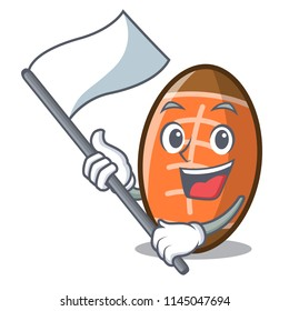 With flag rugby ball mascot cartoon