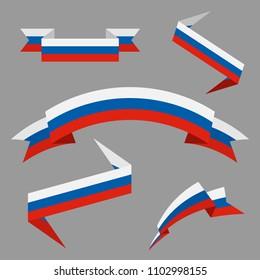 Flag of Russia. Flat ribbons set. Design elements. Vector Illustration.