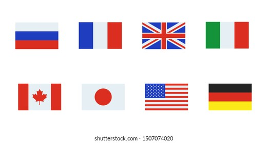 flag russia france usa uk italy canada japan garmany white background