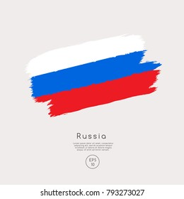Flag of Russia in Grunge Brush Stroke : Vector Illustration