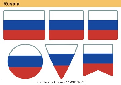 Flag of Russia. Flag icon set of six different shapes. Vector Illustration.