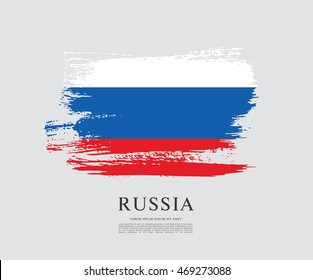 Flag of Russia. Russian flag. Brush stroke background