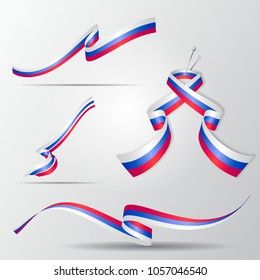 Flag of Russia. Russian ribbons set. Vector illustration.