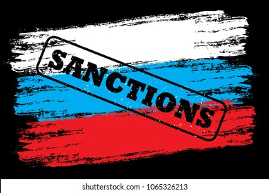 flag of Russia with stamp- sanctions,black background,vector illustration