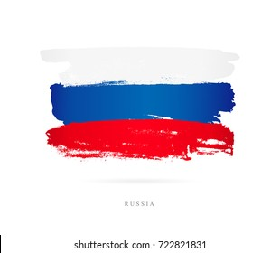 Flag of Russia. Vector illustration on white background. Beautiful brush strokes. Abstract concept. Elements for design.
