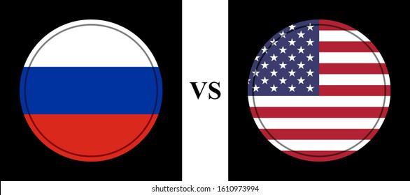 flag russia vs usa .vector background