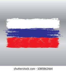 Flag of Russia ,watercolor brush style,hand drawn vector illustration