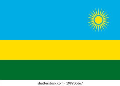 Flag of Rwanda. Vector illustration.