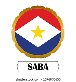Flag of Saba with name icon, Golden sticker with flag of the Saba.vector