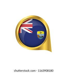 Flag of Saint Helena, location map pin, pointer flag Saint Helena, button gold, Icon country . Vector Illustration EPS10.