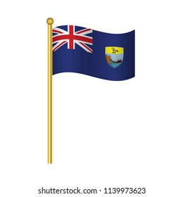 Flag of Saint Helena ,Saint Helena flag official colors and proportion correctly,Saint Helena  flag waving isolated Vector illustration eps10.