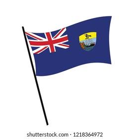 Flag of Saint Helena , Saint Helena flag waving isolated vector illustration