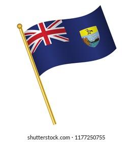 Flag of Saint Helena,Saint Helena flag Golden waving isolated vector illustration eps10.