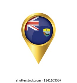 Flag of Saint Helena.symbol check in Saint Helena, golden map pointer with the national flag of Saint Helena in the button. vector illustration.