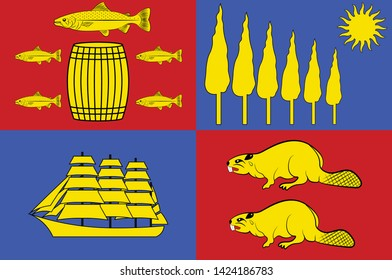 Flag of Saint John is a port city on the Bay of Fundy in the Canadian province of New Brunswick. Vector illustration